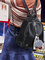 Недорогие -Жен. Мешки PU рюкзак Молнии / Однотонные Черный