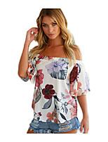 cheap -Women's T-shirt - Floral Off Shoulder