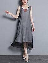 Недорогие -Жен. Рубашка Платья Однотонный
