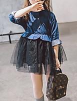 cheap -Toddler Girls' Color Block Long Sleeve Dress