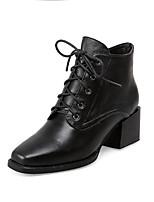 Недорогие -Жен. Обувь Замша / Наппа Leather Весна / Осень Туфли лодочки Обувь на каблуках На толстом каблуке Квадратный носок Черный / Для вечеринки / ужина