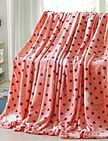 baratos -Velocino de Coral, Estampa Pigmentada Poá Algodão / Poliéster cobertores