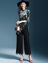 Недорогие -Жен. Классический Блуза Брюки Однотонный / Цветочный принт