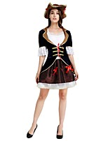 cheap -Pirates of the Caribbean Costume Women's Halloween Carnival Masquerade Festival / Holiday Halloween Costumes Outfits Ink Blue Solid Colored Halloween Halloween
