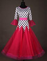 preiswerte -Für den Ballsaal Kleider Damen Leistung Elasthan Horizontal gerüscht / Kombination 3/4 Ärmel Kleid