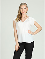cheap -Women's Basic / Street chic Blouse - Solid Colored Ruffle
