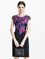 cheap -MARCOBOR Women's Basic / Elegant Sheath Dress - Solid Colored / Floral
