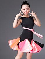 abordables -Danse latine Robes Fille Utilisation Spandex Ceinture en étoffe / Ruché Sans Manches Robe