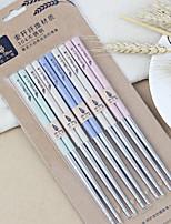 cheap -5pcs Plastic / Stainless steel Cute / Non-Slip Chopsticks