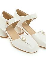 cheap -Women's Shoes PU(Polyurethane) Spring Comfort Heels Chunky Heel White / Black / Pink
