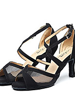abordables -Mujer Zapatos de Baile Latino Malla Tacones Alto Slim High Heel Zapatos de baile Negro