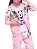 abordables -Niños Chica Floral Manga Larga Conjunto de Ropa