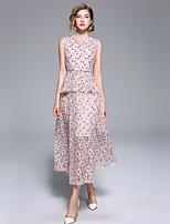 Недорогие -Жен. Изысканный / Элегантный стиль А-силуэт Платье - Цветочный принт, Кружева Макси