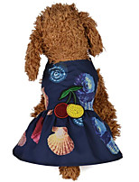 abordables -Perros / Gatos Vestidos Ropa para Perro Flores / Botánica / Impresiones Reactivas / Flor Azul Oscuro / Rosa Terileno Disfraz Para mascotas Mujer Una pieza / Vestidos y faldas