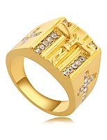 cheap -Men's 3D Band Ring - Gold Plated Cross, Creative Unique Design, Vintage 8 / 9 Gold For Daily / Work