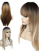 cheap -Synthetic Wig Straight Layered Haircut Synthetic Hair 100% kanekalon hair Blonde / Gray Wig Women's Long Capless / Doll Wig