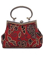 cheap -Women's Bags Polyester Evening Bag Embroidery Embroidery Black / Red