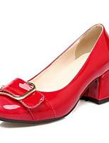 Недорогие -Жен. Обувь Полиуретан Весна Удобная обувь Обувь на каблуках На толстом каблуке Черный / Красный / Розовый