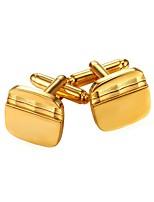 baratos -Retângular Preto / Prata / Dourado Botões de Punho Cobre Simples / Fashion Homens Jóias de fantasia Para Presente / Diário