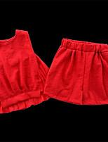 cheap -Toddler Girls' Basic Solid Colored Sleeveless Clothing Set