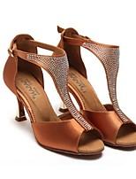baratos -Mulheres Sapatos de Dança Latina Cetim Têni Salto Carretel Sapatos de Dança Preto / Café