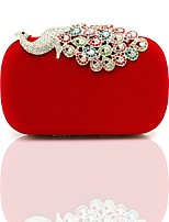 cheap -Women's Bags Velvet Evening Bag Crystals Red / Almond / Fuchsia