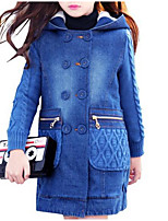 cheap -Kids Girls' Basic Solid Colored Long Sleeve Trench Coat