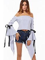 Недорогие -Жен. На выход Блуза С открытыми плечами Полоски