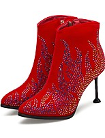 cheap -Women's Shoes Suede Fall & Winter Fashion Boots Boots Stiletto Heel Pointed Toe Booties / Ankle Boots Rhinestone / Sparkling Glitter Black / Red / Wedding / Party & Evening