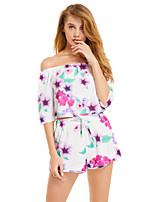 Недорогие -Жен. Классический Блуза Брюки - С принтом, Цветочный принт