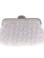 cheap -Women's Bags Polyester Evening Bag Pearls / Flower White