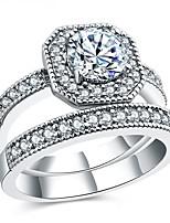 economico -Per donna Zircone cubico A strati Band Ring - Argento sterling S925 Fiore decorativo Vintage, Elegante 6 / 7 / 8 Argento Per Matrimonio / Fidanzamento / Cerimonia