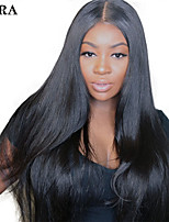cheap -Remy Human Hair Full Lace Wig Brazilian Hair Natural Straight Wig Side Part 250% Fashionable Design / Party / Women Natural Women's Mid Length Human Hair Lace Wig