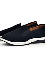 abordables -Hombre Mocasín Tela Otoño invierno Forro de pelusa Zapatos de taco bajo y Slip-On Negro