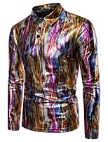cheap -Men's Basic Polo - Rainbow / Camouflage Sequins