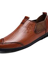 Недорогие -Муж. Кожа Осень Удобная обувь Мокасины и Свитер Черный / Желтый / Коричневый