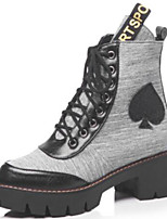 cheap -Women's Shoes PU(Polyurethane) Spring &  Fall Combat Boots Boots Block Heel Round Toe Mid-Calf Boots Rhinestone Gray / Brown