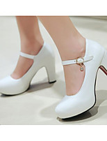 preiswerte -Damen Schuhe PU Frühling / Herbst Komfort / Pumps High Heels Blockabsatz Weiß / Schwarz / Rosa