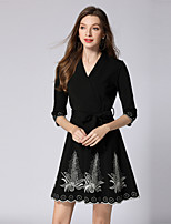 cheap -SHIHUATANG Women's Vintage / Street chic A Line / Little Black Dress - Floral Embroidered