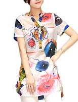 cheap -women's blouse - color block v neck