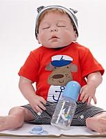 Недорогие -FeelWind Куклы реборн Мальчики 22 дюймовый Полный силикон для тела - как живой, Ручные прикладные ресницы, Гофрированные и запечатанные ногти Детские Мальчики Подарок / Естественный тон кожи
