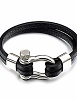 cheap -Men's Stylish / Hollow Out Leather Bracelet - Creative Stylish, Simple Bracelet Black For Daily / School