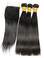 cheap -3 Bundles with Closure Brazilian Hair Straight Human Hair Natural Color Hair Weaves / Tea Party Favors / Costume Accessories 8-20 inch Human Hair Weaves 4x4 Closure Classic / New Arrival / Hot Sale