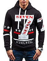 cheap -Men's Basic Hoodie - Color Block / Letter / Star, Lace up / Print