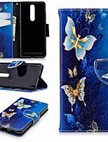 economico -Custodia Per Nokia Nokia 5.1 / Nokia 3.1 A portafoglio / Porta-carte di credito / Con supporto Integrale Farfalla Resistente pelle sintetica per Nokia 8 / Nokia 6 2018 / Nokia 2.1