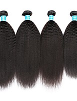 cheap -Brazilian Hair / Peruvian Hair kinky Straight Natural Color Hair Weaves / Weave 4 Bundles 8-30 inch Human Hair Weaves Machine Made Best Quality / 100% Virgin Natural Black Human Hair Extensions