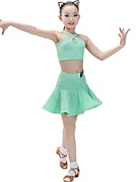 cheap -Latin Dance Outfits Girls' Training Chinlon / Milk Fiber Split Joint Sleeveless Natural Skirts / Top