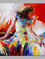 economico -Hang-Dipinto ad olio Dipinta a mano - Astratto / Ritratti Contemporaneo / Modern Tela