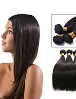Недорогие -4 Связки Бразильские волосы Прямой Натуральные волосы Человека ткет Волосы / Удлинитель 8-28 дюймовый Черный Естественный цвет Ткет человеческих волос Машинное плетение