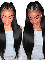 Недорогие -Remy Лента спереди Wig Бразильские волосы Прямой Парик Боковая часть 250% С детскими волосами / Женский / Лучшее качество Черный Жен. Длинные Парики из натуральных волос на кружевной основе